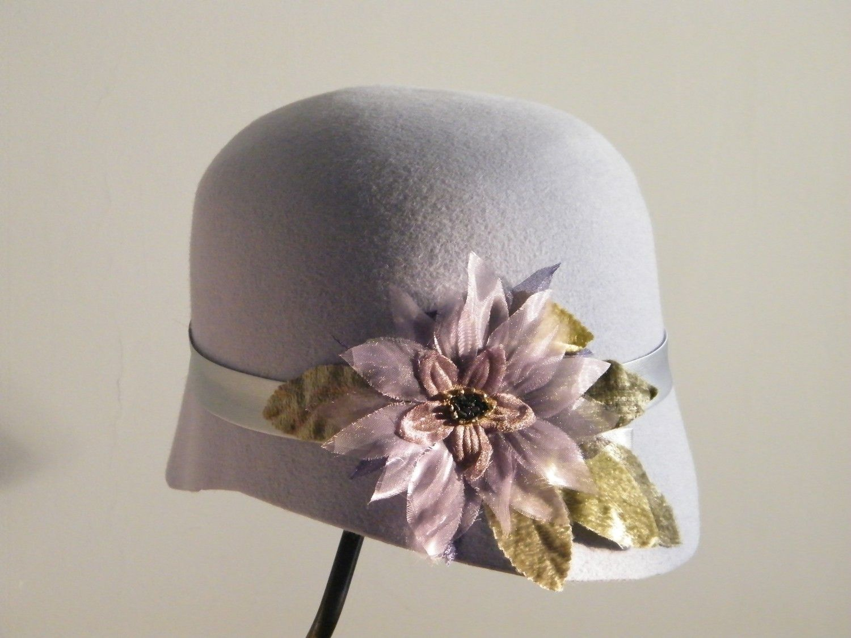 Light purple cloche felt hat for women with handmade chiffon flower. $110.00, via Etsy.