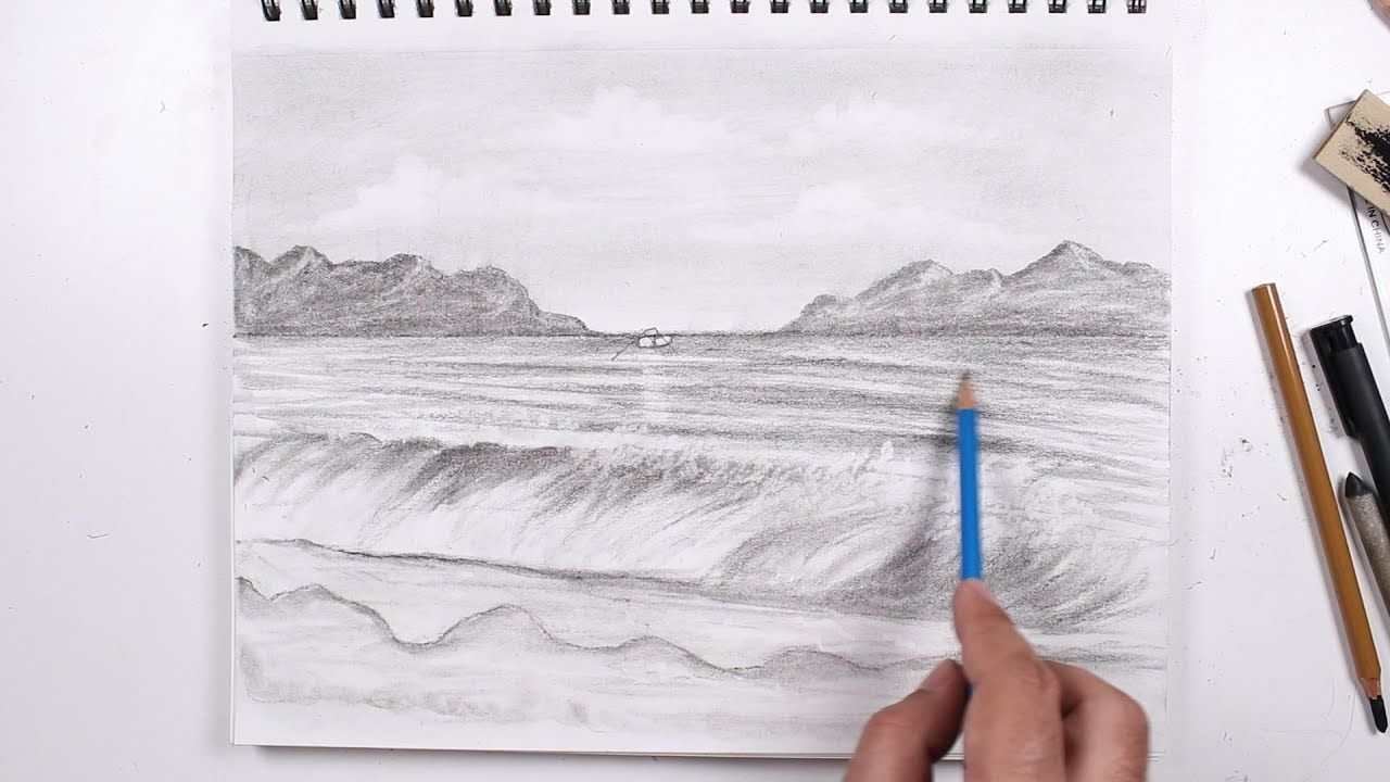 Learn How To Draw Waves With A Charcoal Pen Step By Step Drawings Learn To Draw Draw