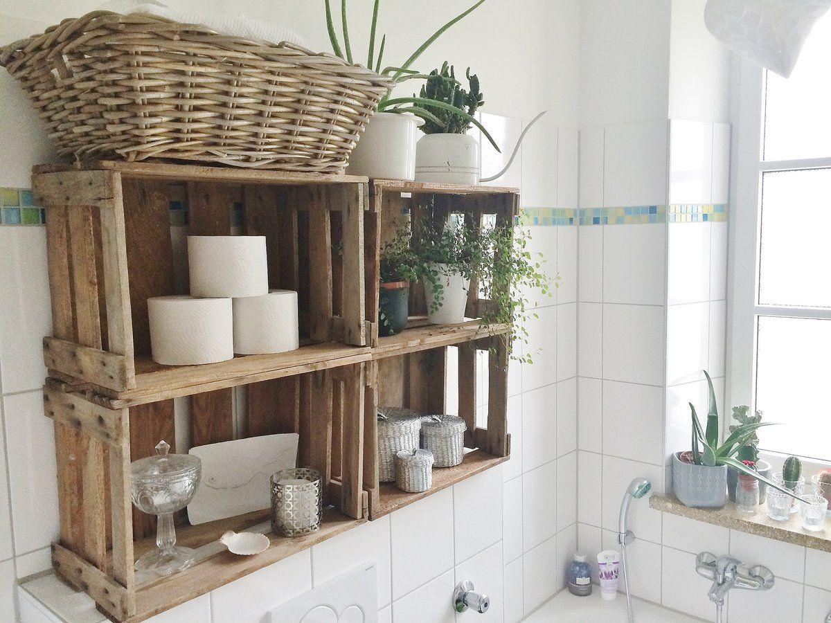 Badregal ideen über toilette weinkistenregal im bad  wohnideen  pinterest  baños decoracion