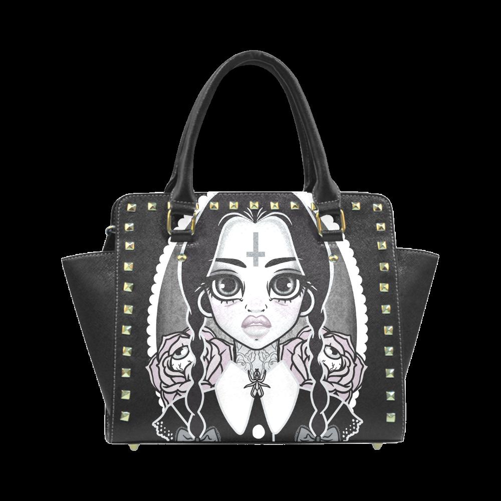 Personalized custom design Wednesday STUDDED BAG Rivet Shoulder Handbag bc4ea4470c618
