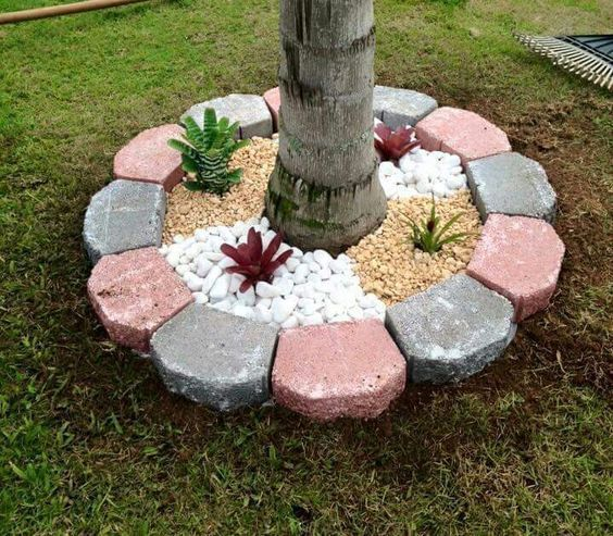30 Wonderful DIY ideas with stone flower beds