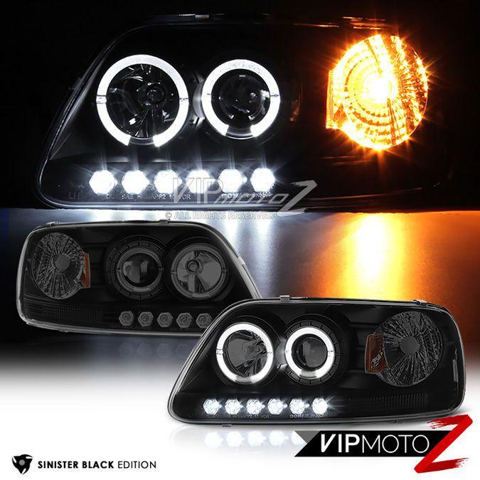 CHROME DUAL HALO PROJECTOR+LED 1PC HEADLIGHT+DRIVING FOG LIGHT  FOR 97-03 F150