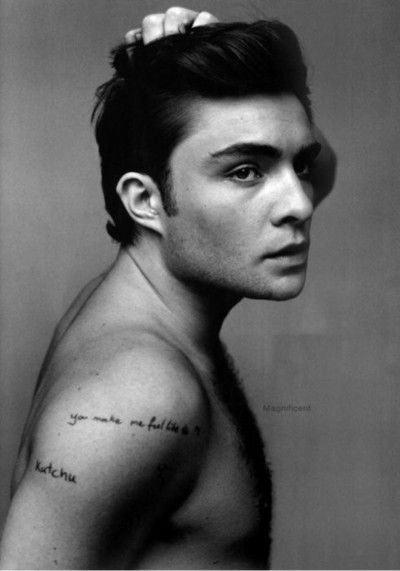 Ed Westwick... shirtless, love his tatoos! | Hotties ...