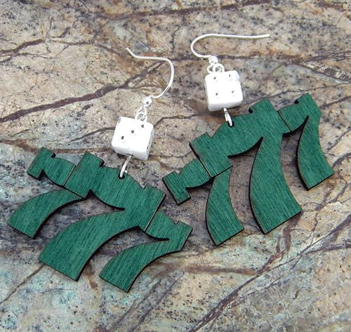 Lucky 7's Wooden Earrings - Would make a great gift for the