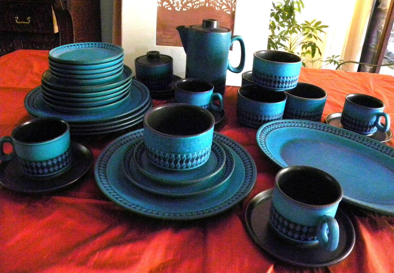 Rare 35 Piece CERAMANO GERMAN Art Pottery Dinnerware Coffee Set Sapphire Blue CEA9 Eames Mid Century Modern & Rare 35 Piece CERAMANO GERMAN Art Pottery Dinnerware Coffee Set ...