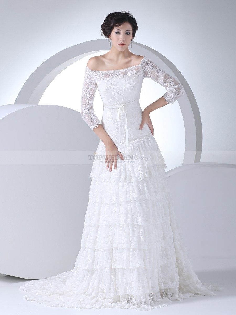 Off the Shoulder Tiered Lace Wedding Gown with Three Quarter ...