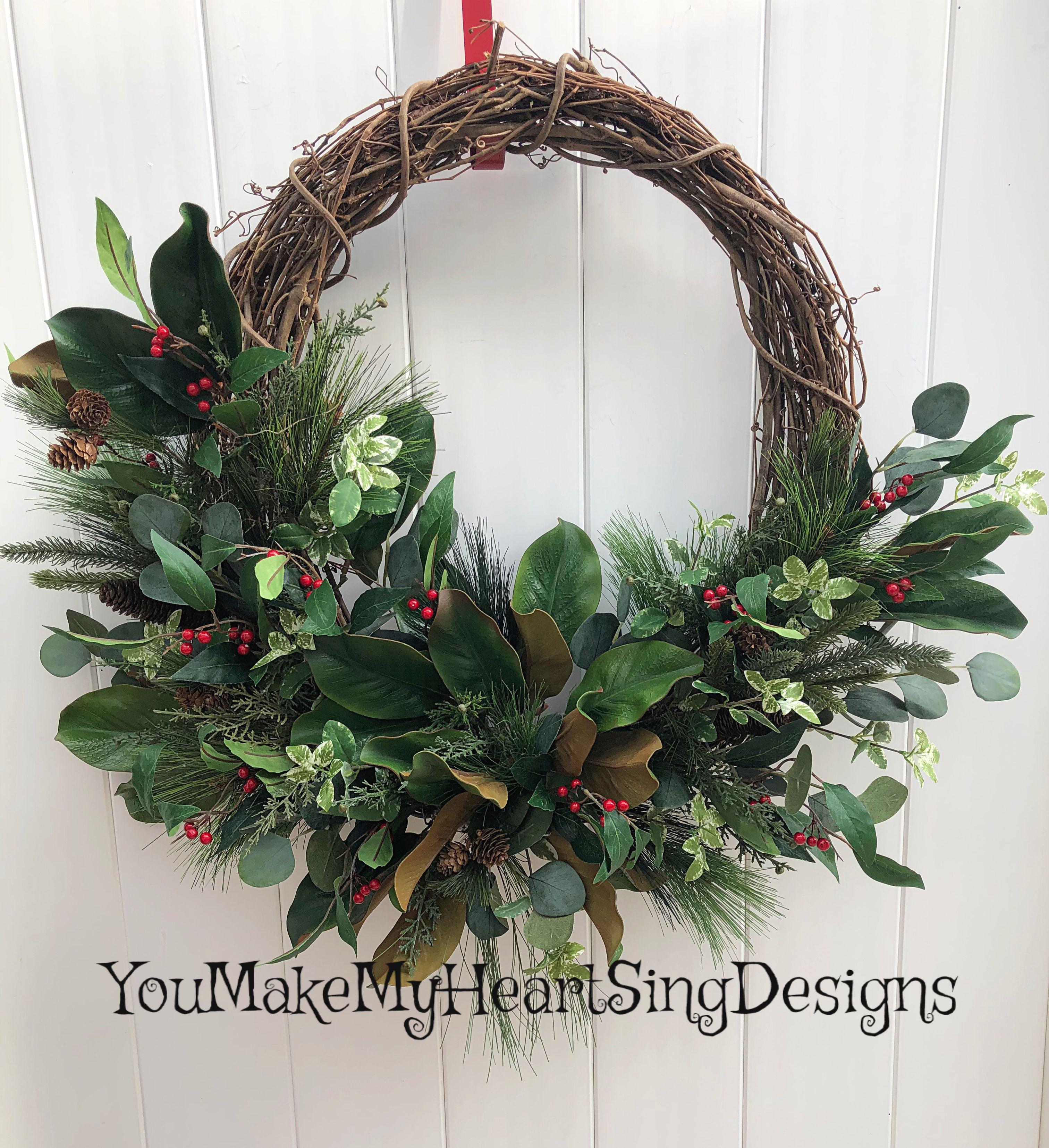 Photo of Christmas Magnolia Wreath, Magnolia, Winter Magnolia Wreath, Christmas Greenery Wreath, Winter decor