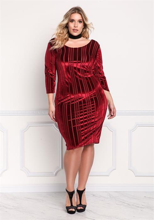 be4b64102c0b5 Plus Size Red Velvet Stripe Burnout Bodycon Dress