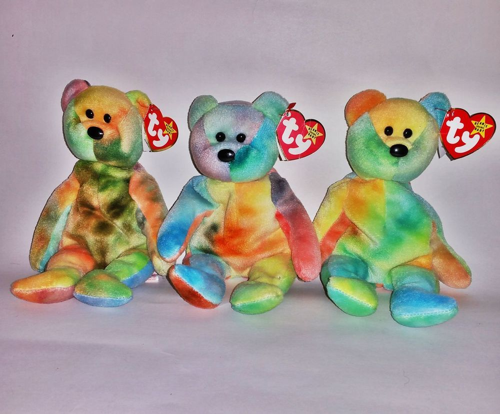ebed51631be RARE ---  TY Jerry GARCIA ERROR Beanie Baby Bear Lot 1st Edition PVC 3rd  Gen  Ty