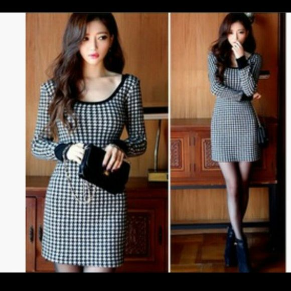 """Houndstooth checked knit dress Houndstooth checked knit dress. 33"""" total length.  Stretchy fabric.  Labeled size 6 but fits like a 4. Never worn. Dresses"""
