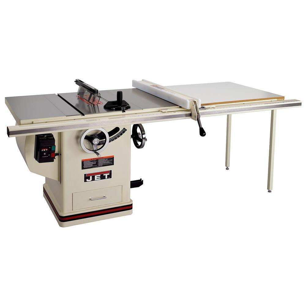 Jet 5 Hp 10 In Deluxe Xacta Saw Table Saw With 50 In Fence Cast Iron Wings And Riving Knife 230 Volt 708677pk Jet Woodworking Tools Woodworking Saws