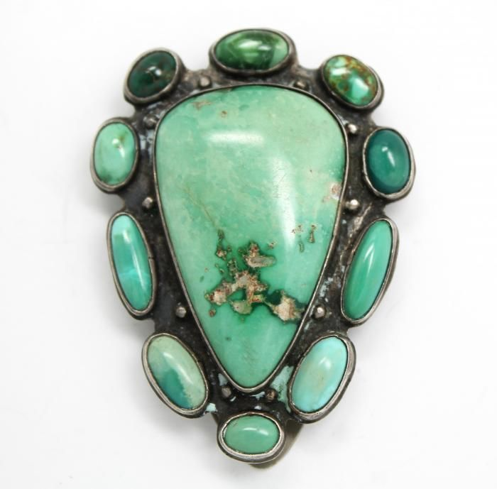Unusual Early 20c Sterling Silver Turquoise American Indian Pawn Dress Clip