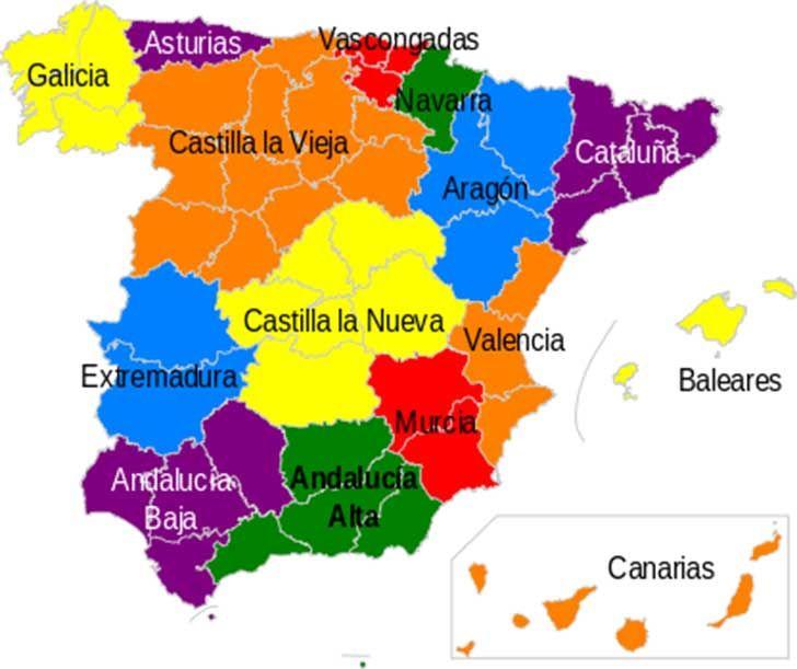Division de espa a de las regiones administrativas mapas for Canal castilla la mancha