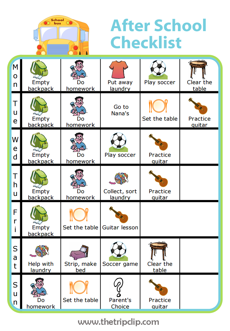 Make Your Own After School Checklist Plus Lots Of Other