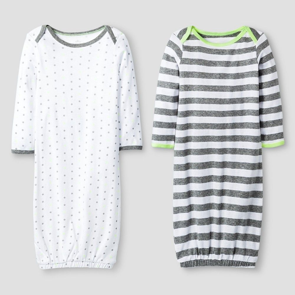 cdc68e722 Baby 2 Pack Gown Set Baby Cat   Jack - Heather Grey White 0-6M ...