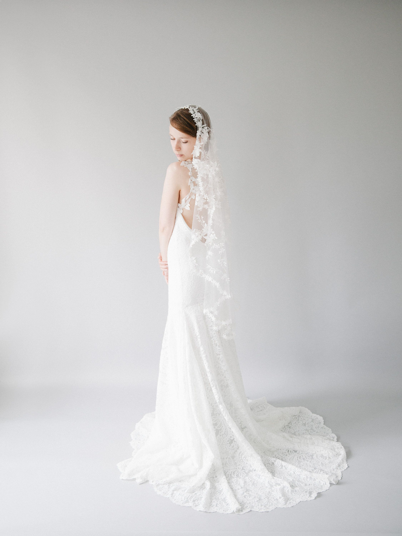 Couture 3d Lace Mantilla Wedding Veil Modern Floral Bridal Veil Short Handmade Fingertip Length Wedding Veil Style 827 In 2020 Wedding Veil Styles Mantilla Veil Wedding Lace Mantilla