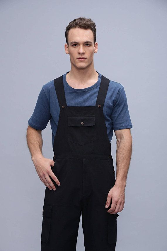 e1e093eab0b8 Men s Summer overall - Cotton Men s Jumpsuit - Romper - dungarees -  workwear - cargo jumpsuit - Bl