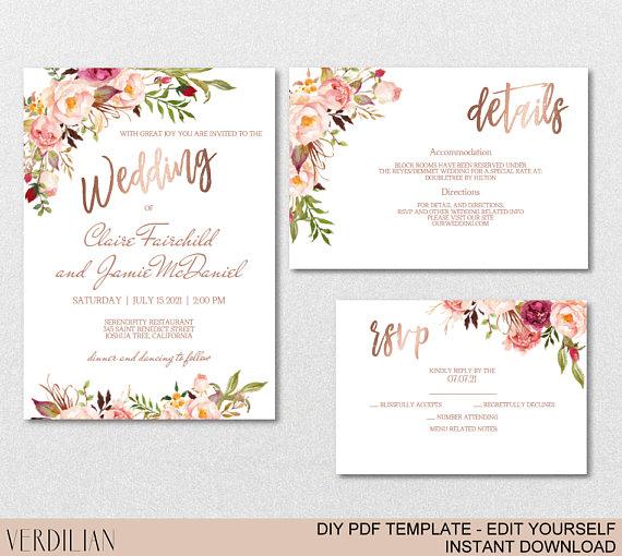 Blush Rose Gold Wedding Invitation Template Set Blush