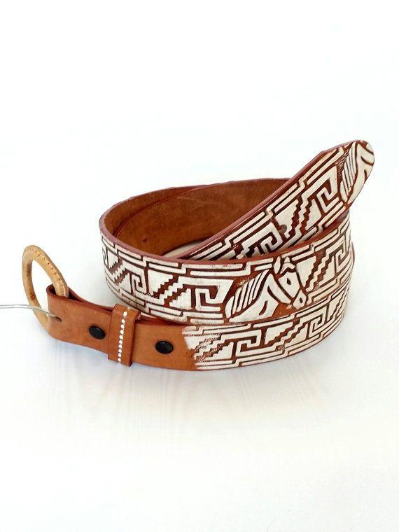 vtg tooled leather cowboy belt with horses vintage