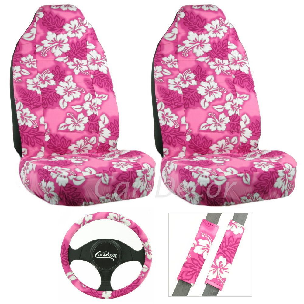 Hawaiian pink 5 pc seat cover set car seat cover sets hawaiian girly pink hawaiian flower car seat cover set auto accessory izmirmasajfo