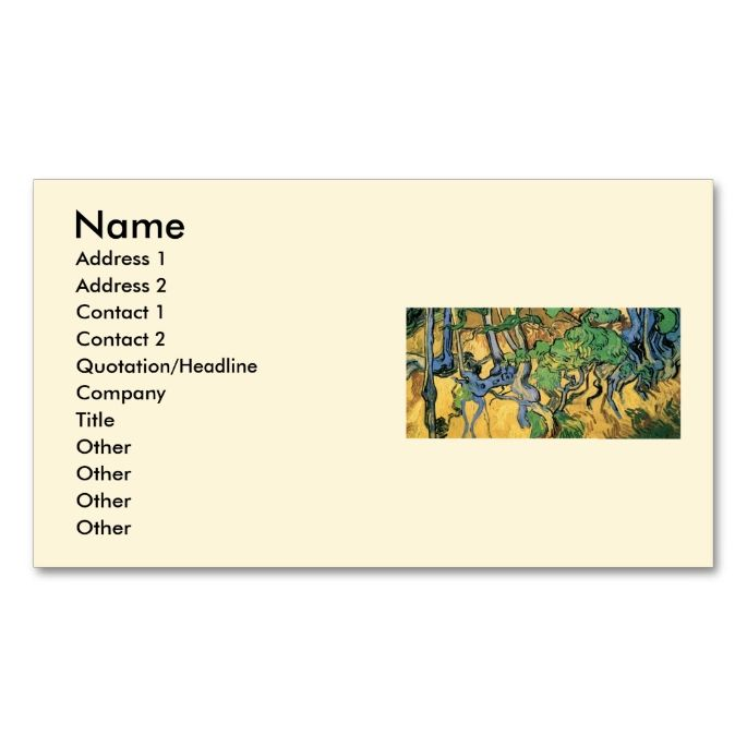 Van gogh tree roots and trunks vintage fine art business card van gogh tree roots and trunks vintage fine art double sided standard business cards pack of 100 make your own business card with this great design colourmoves