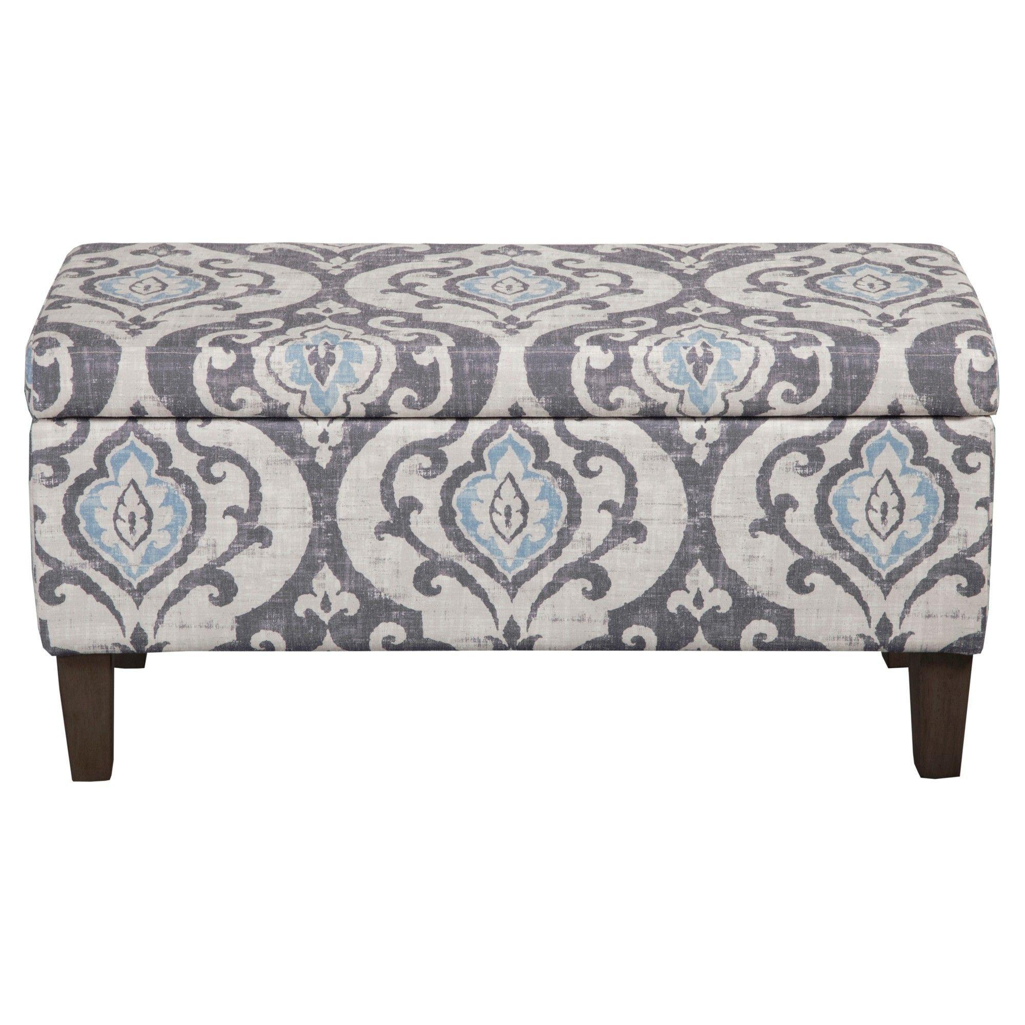 Swell Gray And Light Blue Storage Bench Large Damask Homepop Customarchery Wood Chair Design Ideas Customarcherynet