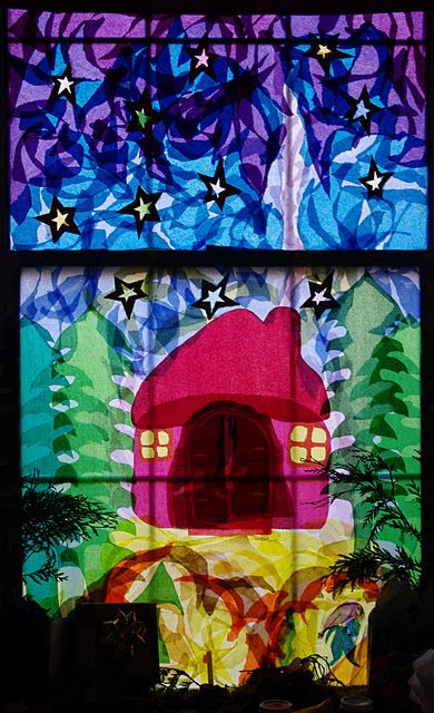 Papier m ch stained glass advent window transparanten pinterest fensterbilder - Fensterbilder transparentpapier ...