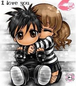Imagenes De Emos De Dibujos Y Bonitos Amor Emo Chibi Anime Parejas Enamoradas Tiernas