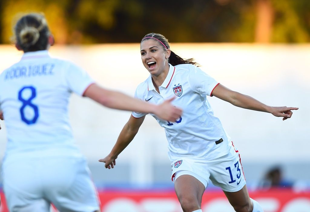 Amy Rodriguez and Alex Morgan, USA vs. Switzerland, March 6, 2015. (U.S. Soccer)