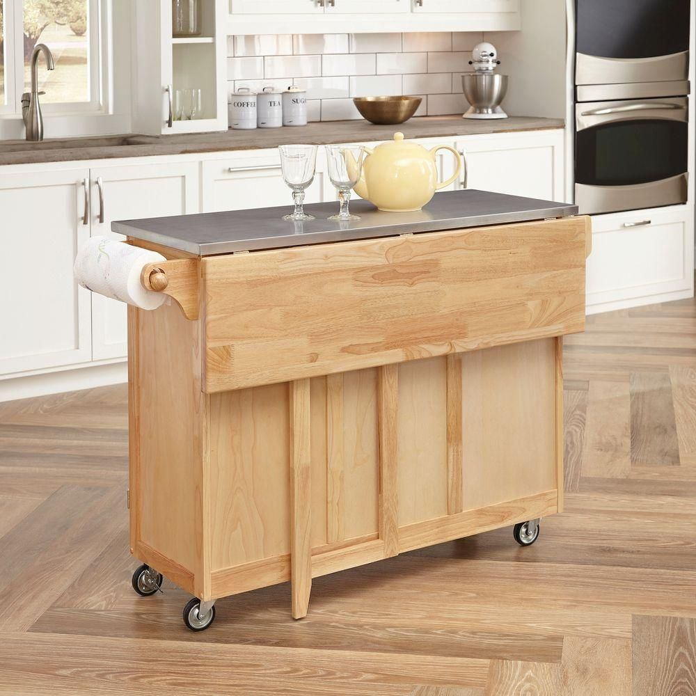 homestyles natural wood kitchen cart with stainless top and breakfast bar 5086 95 with images on kitchen island ideas kitchen bar carts id=15558