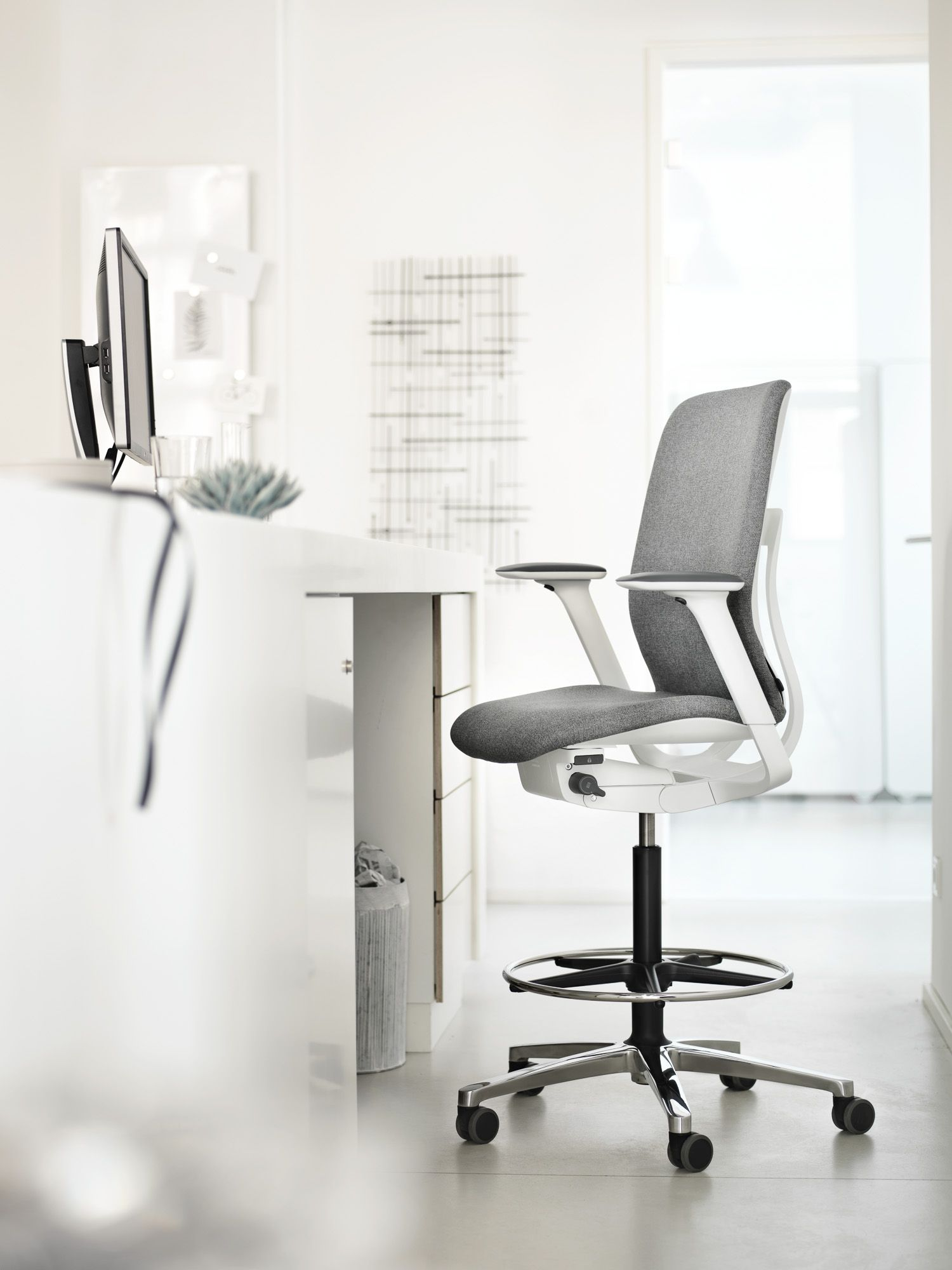 Our Height Adjustable Counter Stools Aren T Just Used At Counters But Also At High Tables In Modern P Task Chair Design Chair Design Modular Furniture System