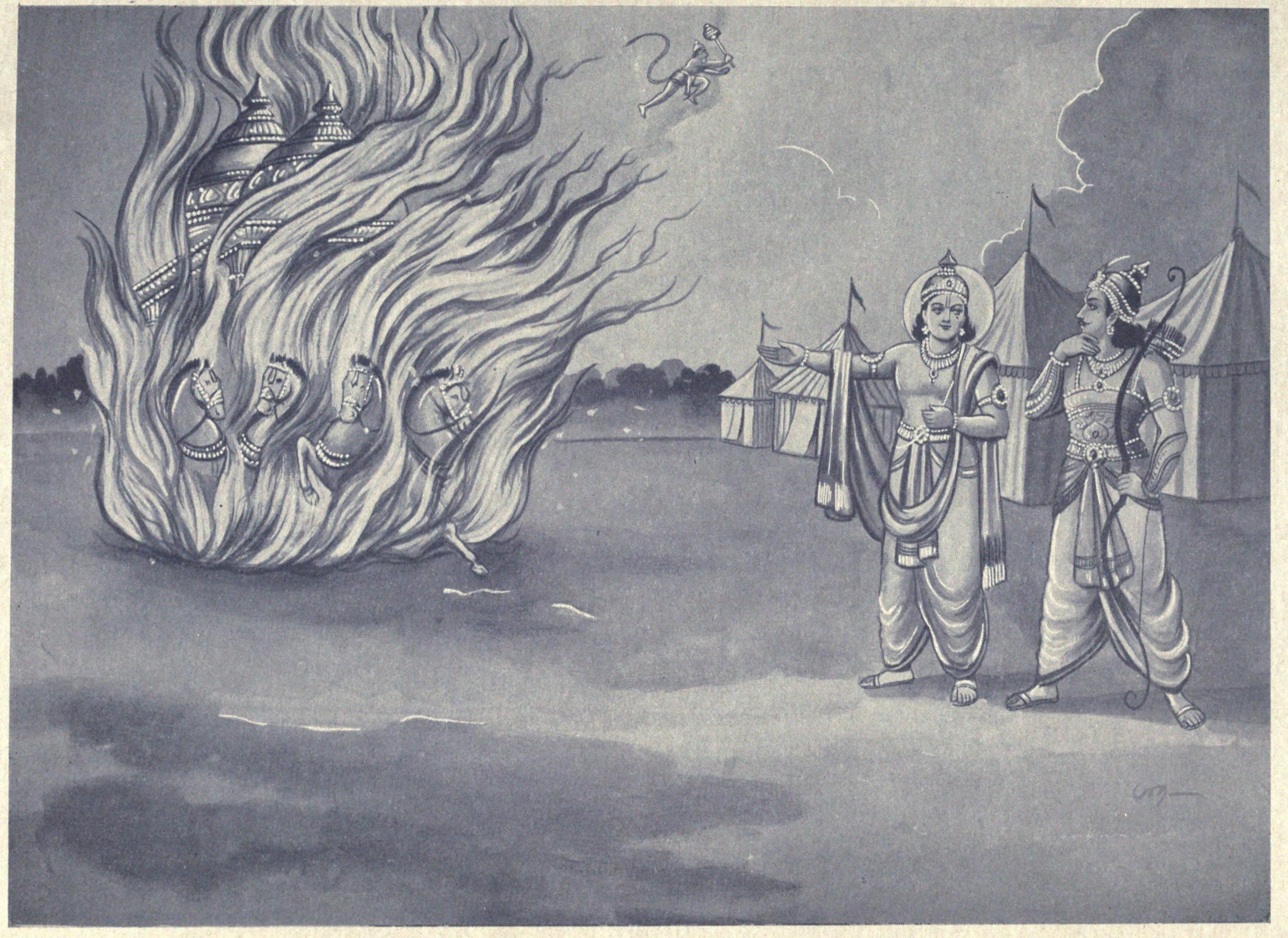 File:Arjuna's chariot burns after the war.jpg