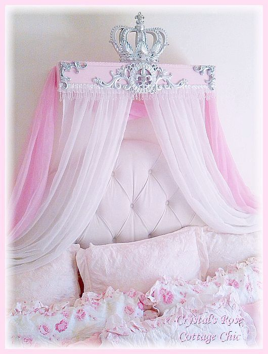 French Flourish Pink And Silver Crown Canopy Teester Color
