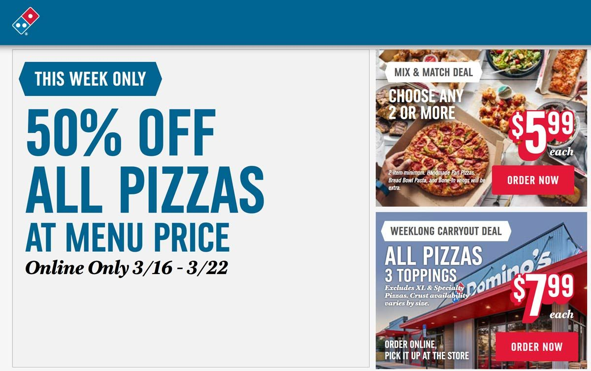Pinned March 19th 50 Off All Pizzas At Dominos Thecouponsapp Dominos Pizza Coupons Chicken Wing Flavors Pasta Bread Bowl