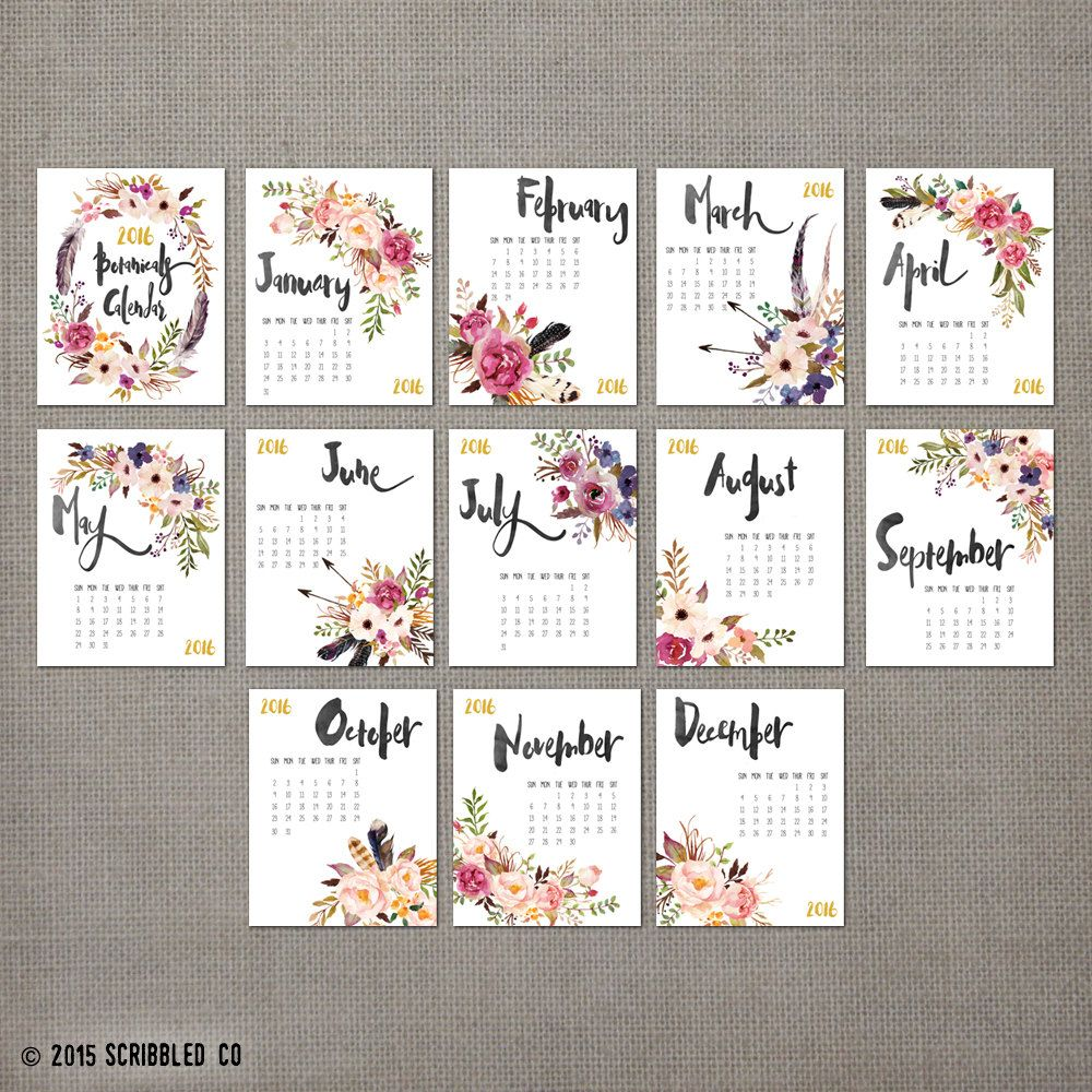 Calendar Typography Gear : Monthly wall calendar