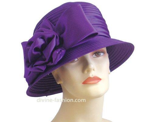 Purple Hat with Satin Ribbon