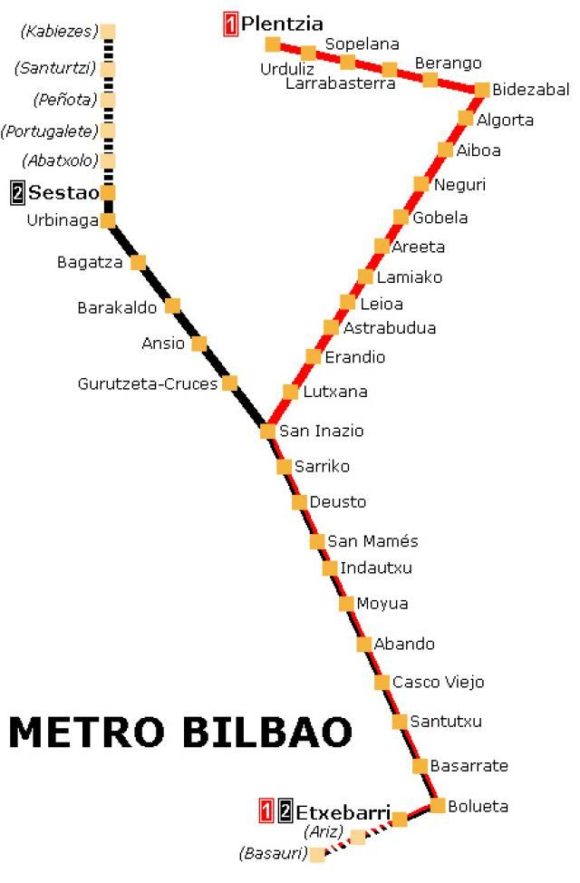 Spanish Metro Map.Spain Metro And Rail Maps Bilbao Metro Map Travel Stuff Malos