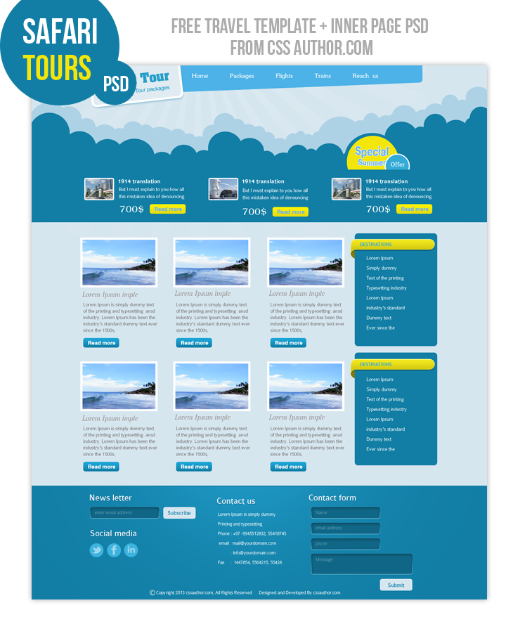 Premium Travel Web Design Template Psd For Free  CssauthorCom