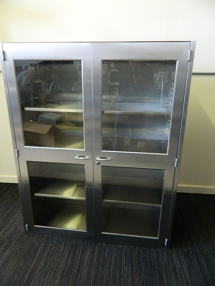 Stainless Steel Medical Wall w Glass Doors 48inch