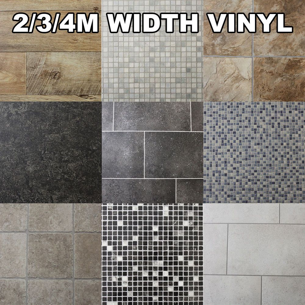 Quality Non Slip Vinyl Flooring Kitchen Bathroom Lino Wood Tiles