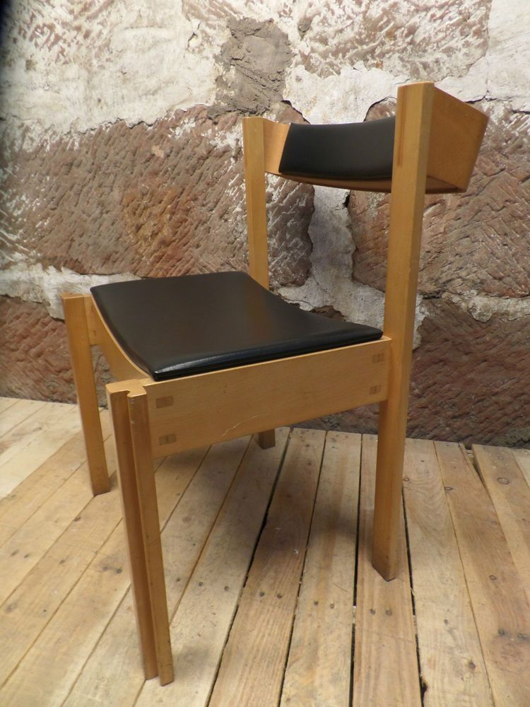 clive bacon mid century modern stacking plywood and beech chairs vintage cafe