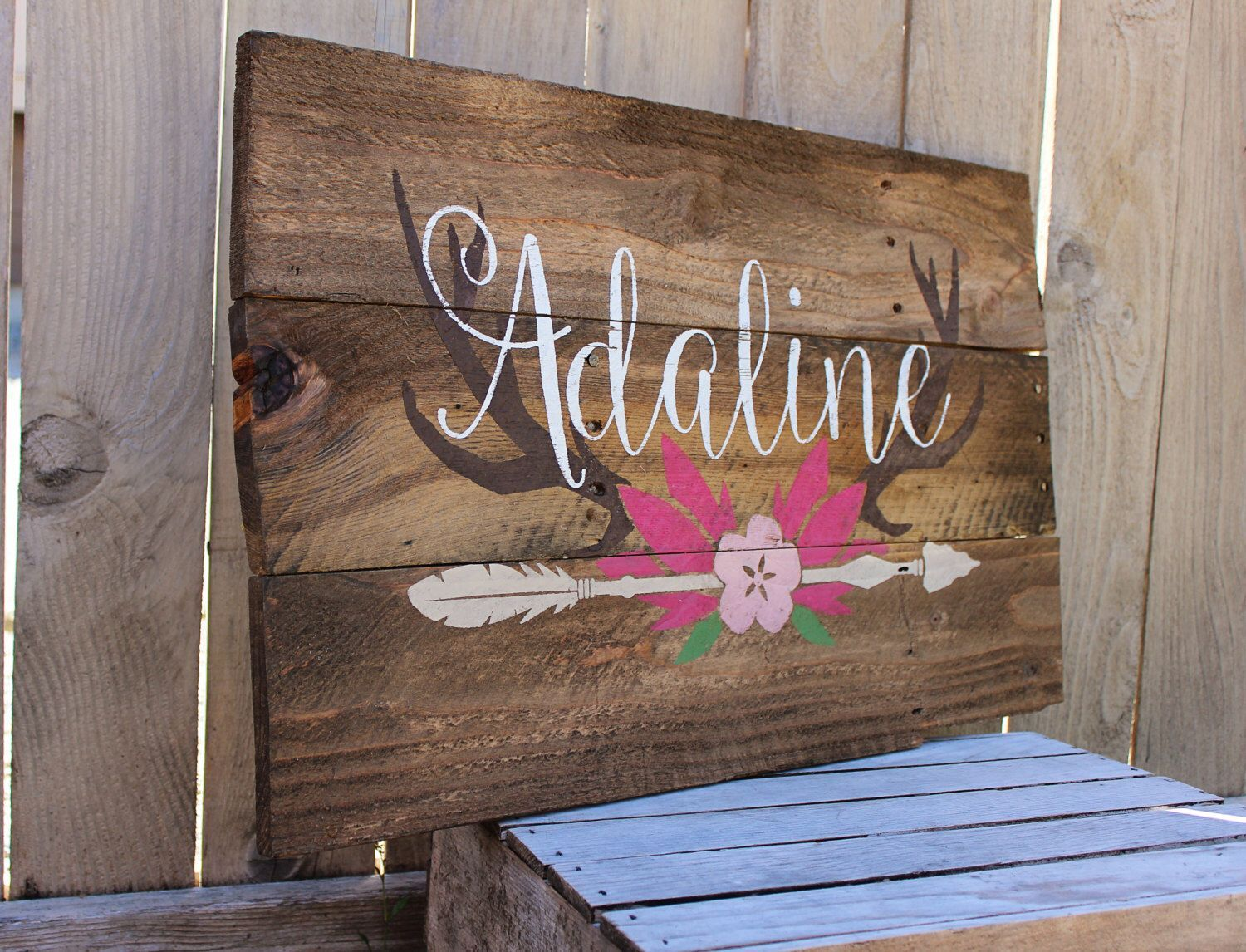 Rustic Large Nursery Name Arrow and Antlers personalized ...