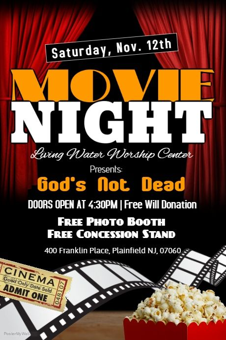 Copy of MOVIE NIGHT PosterMyWall Fundraising Pinterest - movie night flyer template