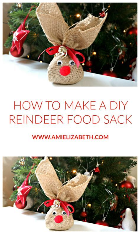 Christmas Crafts - DIY REINDEER FOOD SACK. These make the perfect addition to your Christmas Eve box. #christmascraftstosell