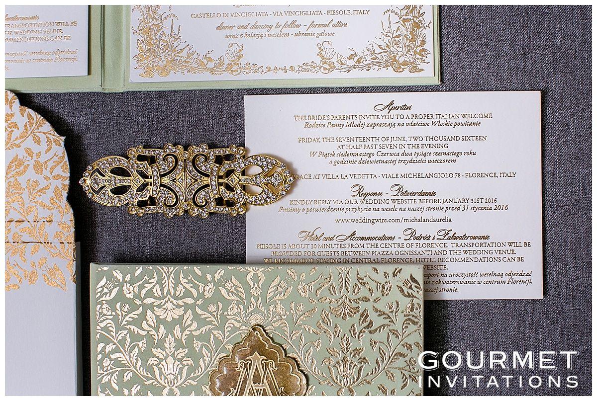 Mint and Gold Wedding Gold InvitationsCustom