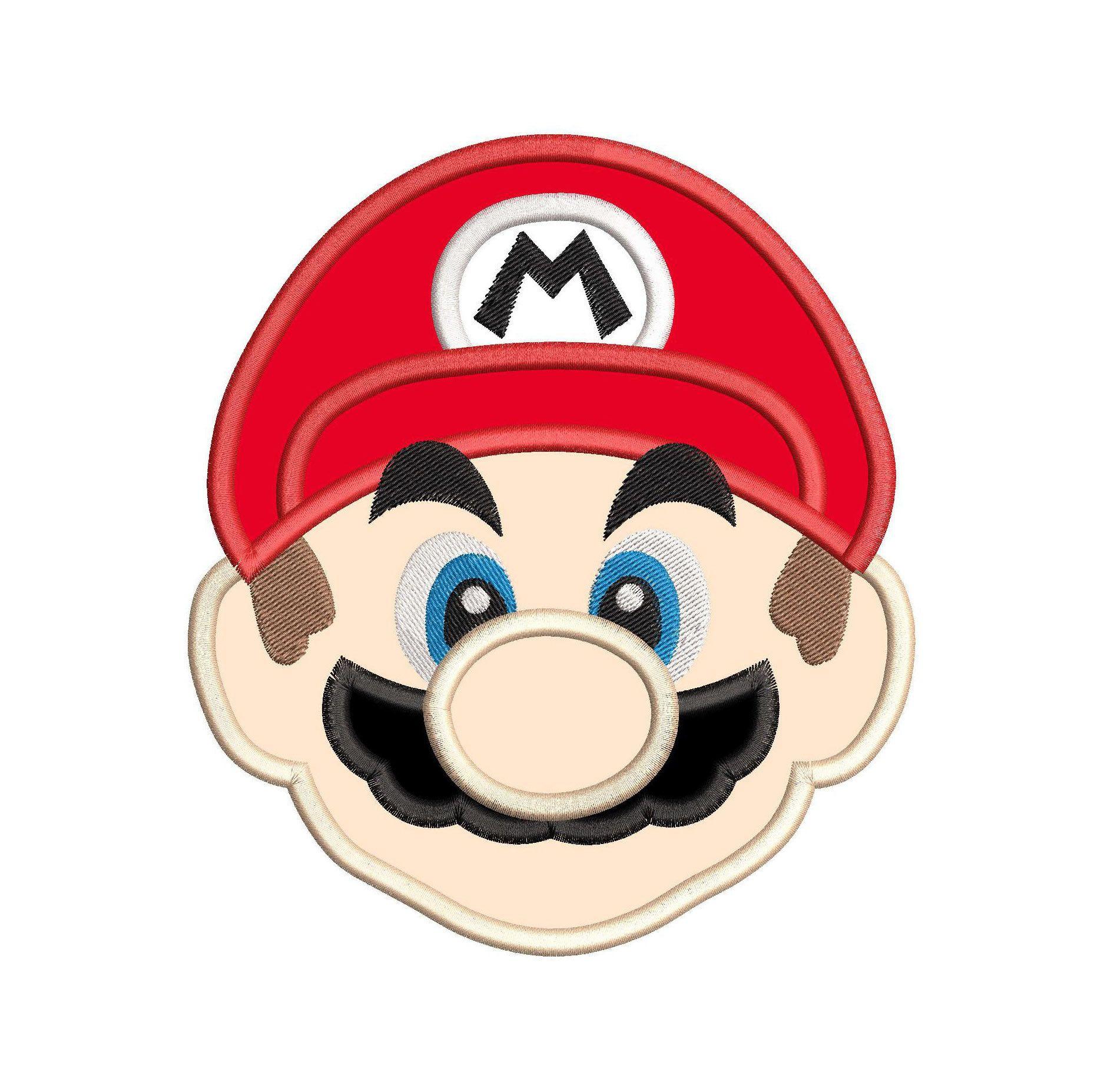 Super Mario Head Applique Embroidery Design Instant Download Embroidery Applique Applique Embroidery Designs Applique Quilts