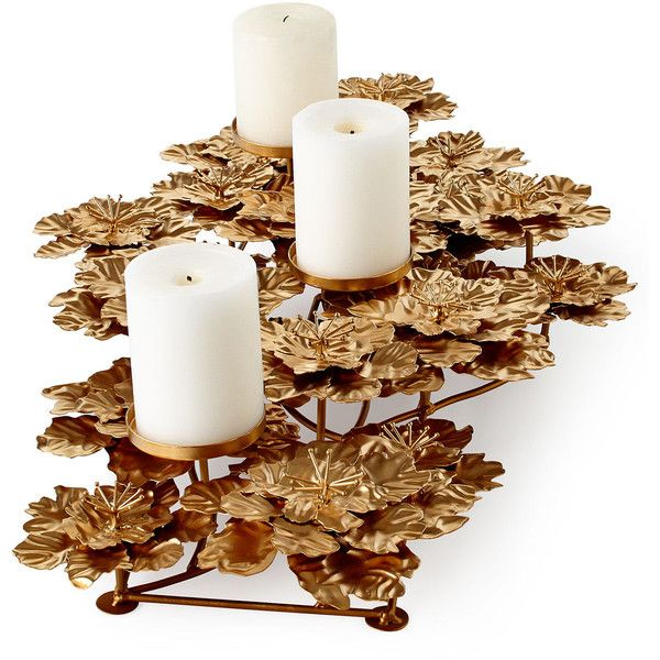 Horchow Flower Pillar Candleholder (240 CAD) ❤ liked on Polyvore featuring home, home decor, candles & candleholders, candles, iron candle holder, flower stems, flower candle holder, flower candle et blossom candle