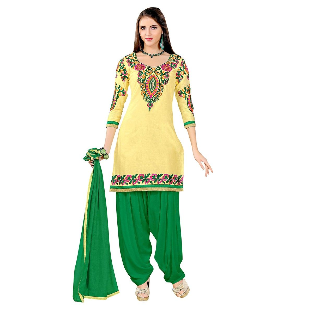 82dcafc4841 Cotton Patch Work Yellow Semi Stitched Patiala Suit - 10002 ...
