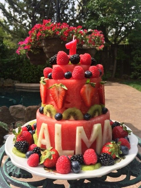 Watermelon Cake For Birthday Fun With Images Fruit Birthday