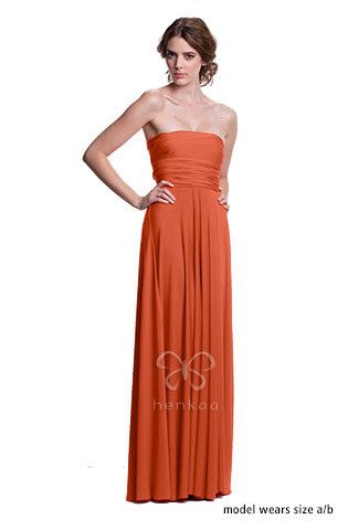 Sakura Convertible Gown Dress - Burnt Orange $158 | Bridesmaid ideas ...